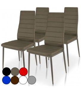 Chaise en simili cuir avec haut dossier Stratis 7 coloris - Lot de 4