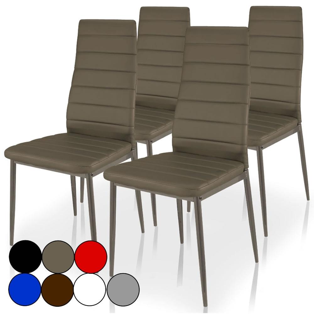 Chaise simili cuir gain de place - Lot de 5