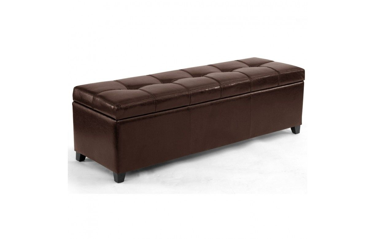 banquette coffre de rangement en simili cuir noir marron. Black Bedroom Furniture Sets. Home Design Ideas