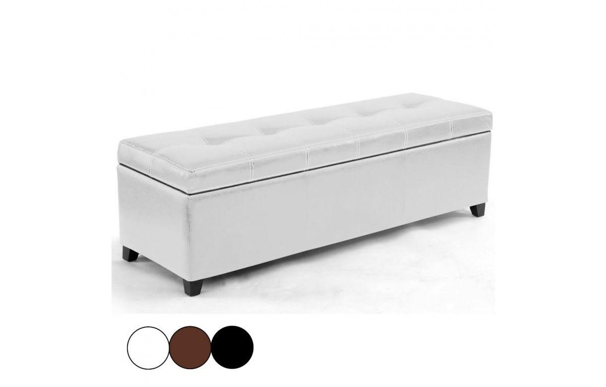 banquette coffre de rangement en simili cuir noir marron. Black Bedroom Furniture Sets. Home Design Ideas