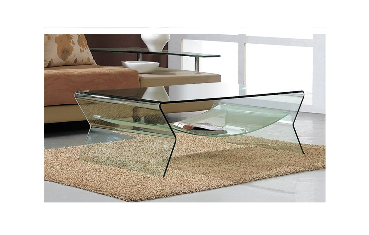 Table Basse Design En Verre Avec Sous Plateau Byron # Table Basse Transparente