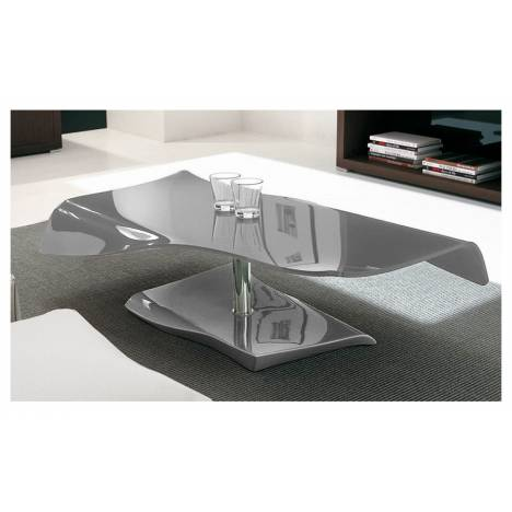 Table basse fixe en verre laqué gris SQUIZY -