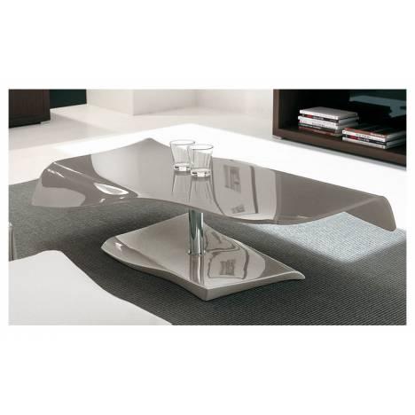 Table basse fixe en verre laqué taupe SQUIZY -
