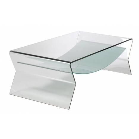 Table basse fixe en verre transparent Byron -