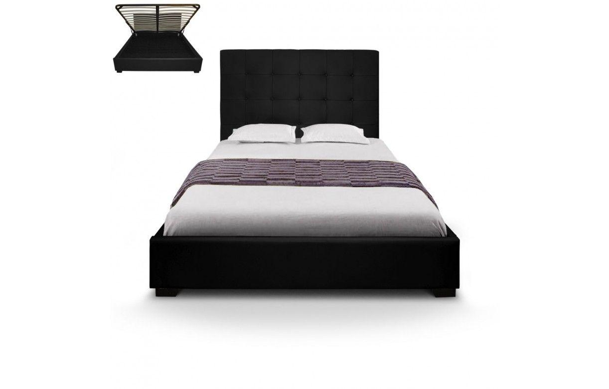lit coffre double taupe avec sommier relevable 140 cm trevenos 6 coloris decome store. Black Bedroom Furniture Sets. Home Design Ideas