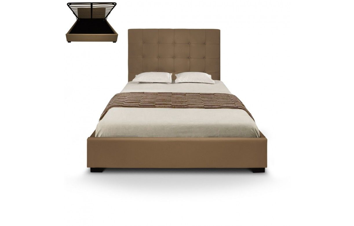 lit coffre double taupe avec sommier relevable 140 cm trevenos 6 coloris decome store. Black Bedroom Furniture Sets. Home Design Ideas
