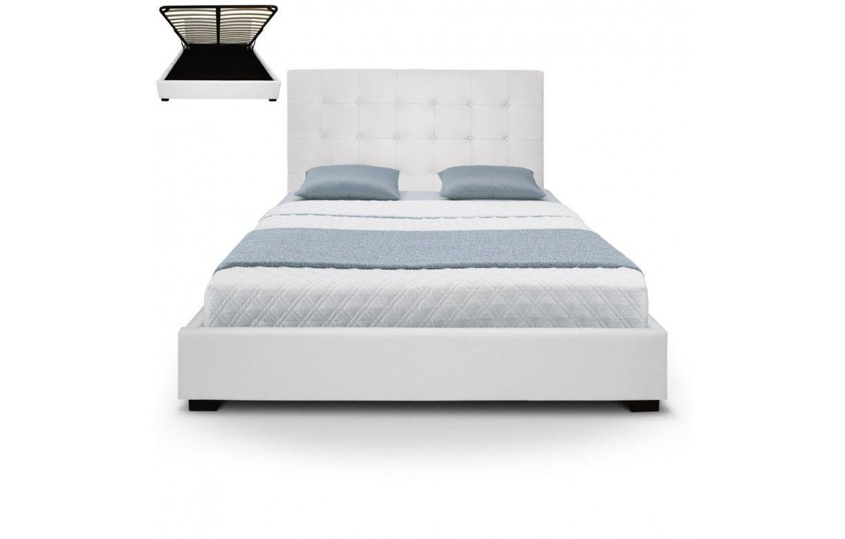 lit coffre double argent avec sommier relevable 160 cm trevenos 6 coloris decome store. Black Bedroom Furniture Sets. Home Design Ideas
