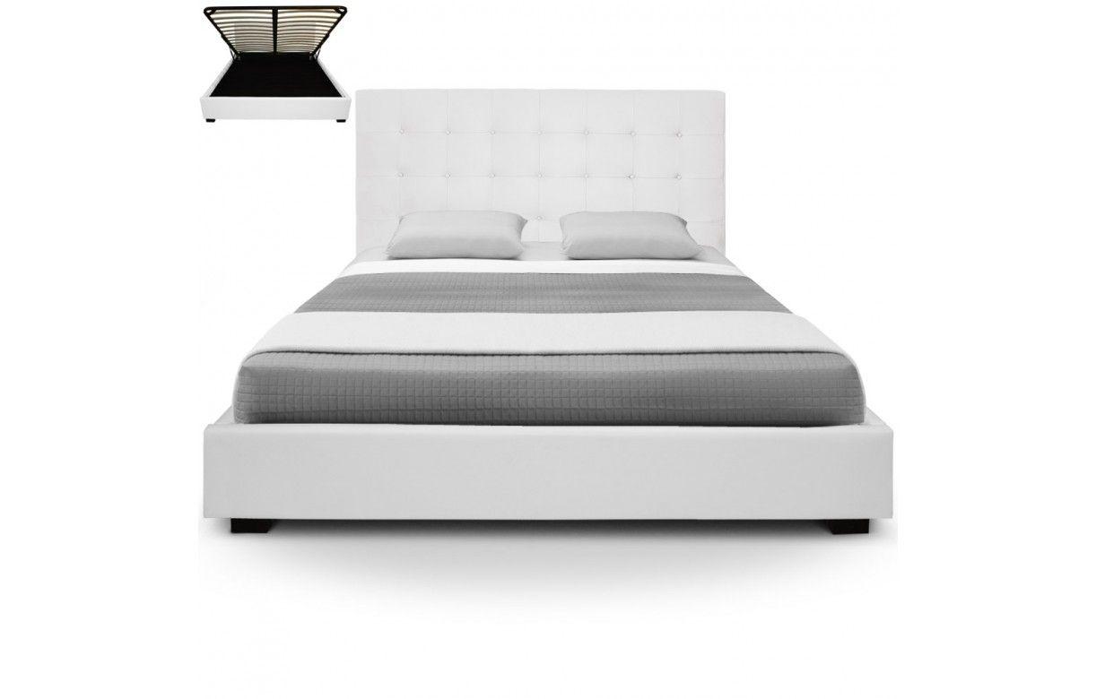 lit coffre double beige avec sommier relevable 180 cm trevenos 6 coloris decome store. Black Bedroom Furniture Sets. Home Design Ideas