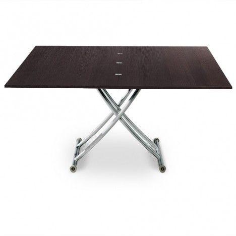 Table basse relevable en bois brut wengé ou vintage Carreraia XL -