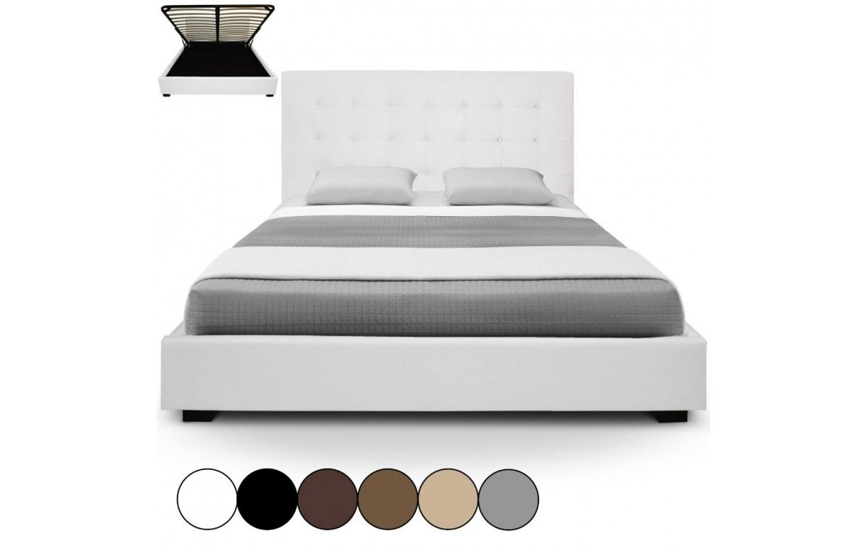 lit coffre double beige avec sommier relevable 180 cm trevenos 6 coloris decome store. Black Bedroom Furniture Sets. Home Design Ideas