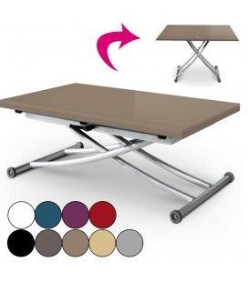 Table basse laquée relevable et dépliable en aluminim Carreraia - 9 coloris -