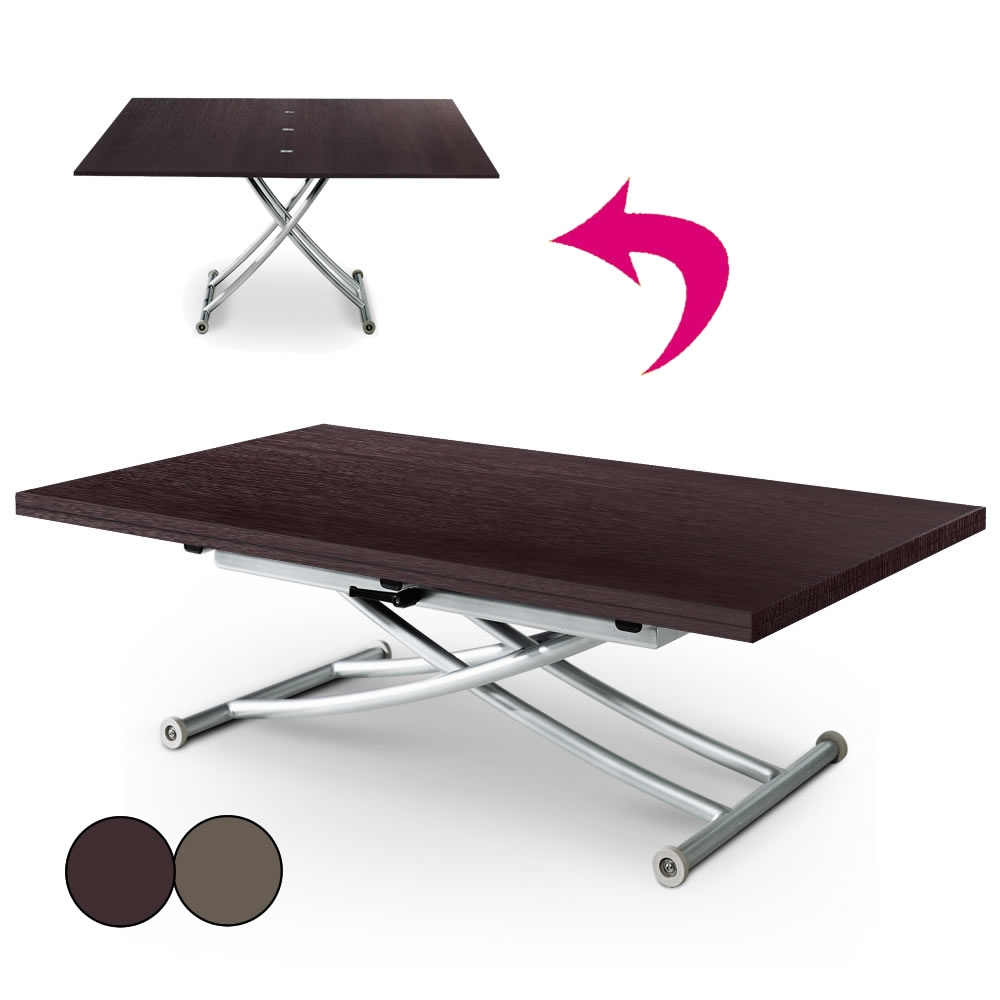 Table Basse Relevable En Bois Brut Wengé Ou Vintage Carreraia Xl