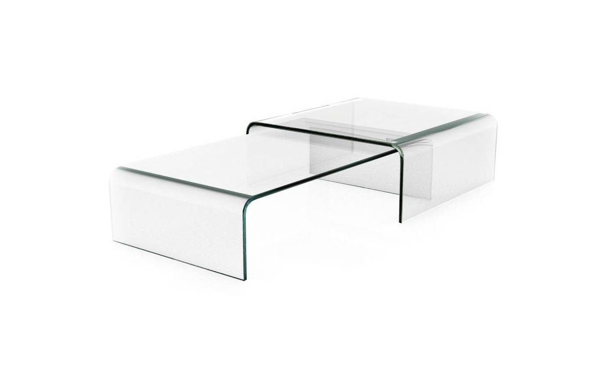 Table basse gigogne en verre design haut de gamme bady for Table basse verre design