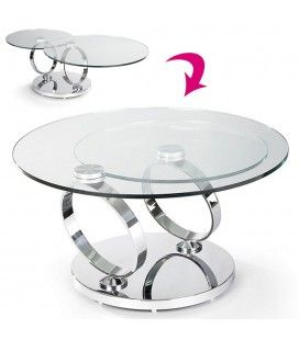 Table basse en verre trempé avec plateaux rotatifs Basila