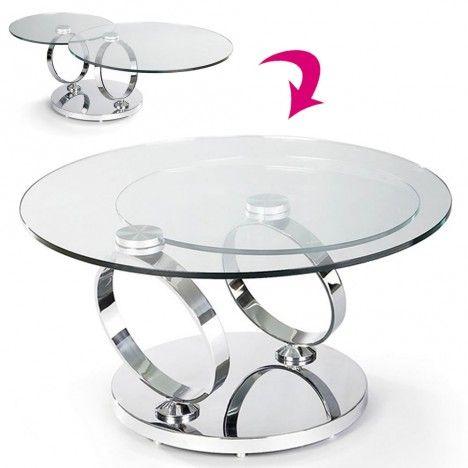 Table basse en verre trempé avec plateaux rotatifs Basila -