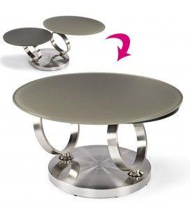 Table basse en verre trempé taupe avec plateaux rotatifs Basila
