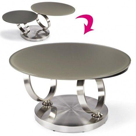 Table basse en verre trempé taupe avec plateaux rotatifs Basila -
