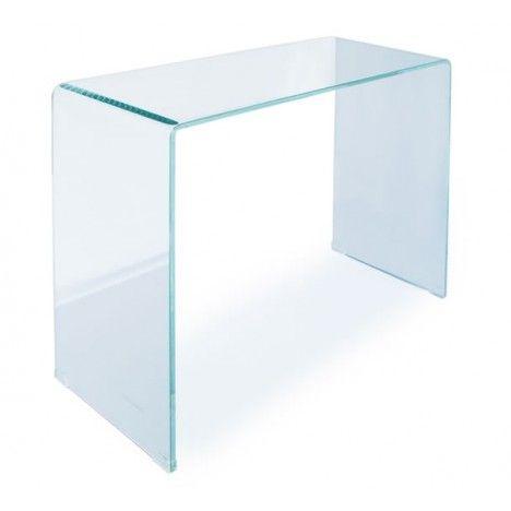 Console décorative en verre transparente 90cm ou 100cm