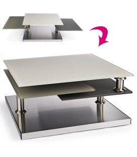 Table basse en verre design taupe 3 plateaux Blankaly -