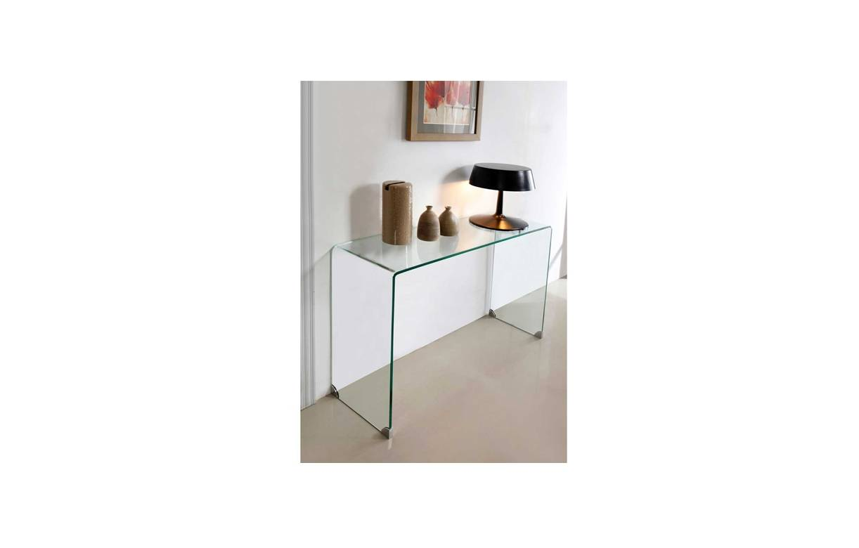 Console design en verre transparent pas ch re for Meubles d appoint cuisine