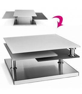 Table basse en verre design gris 3 plateaux Blankaly