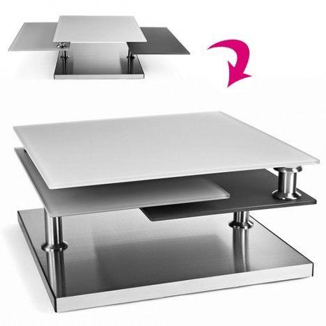 Table basse en verre design gris 3 plateaux Blankaly -