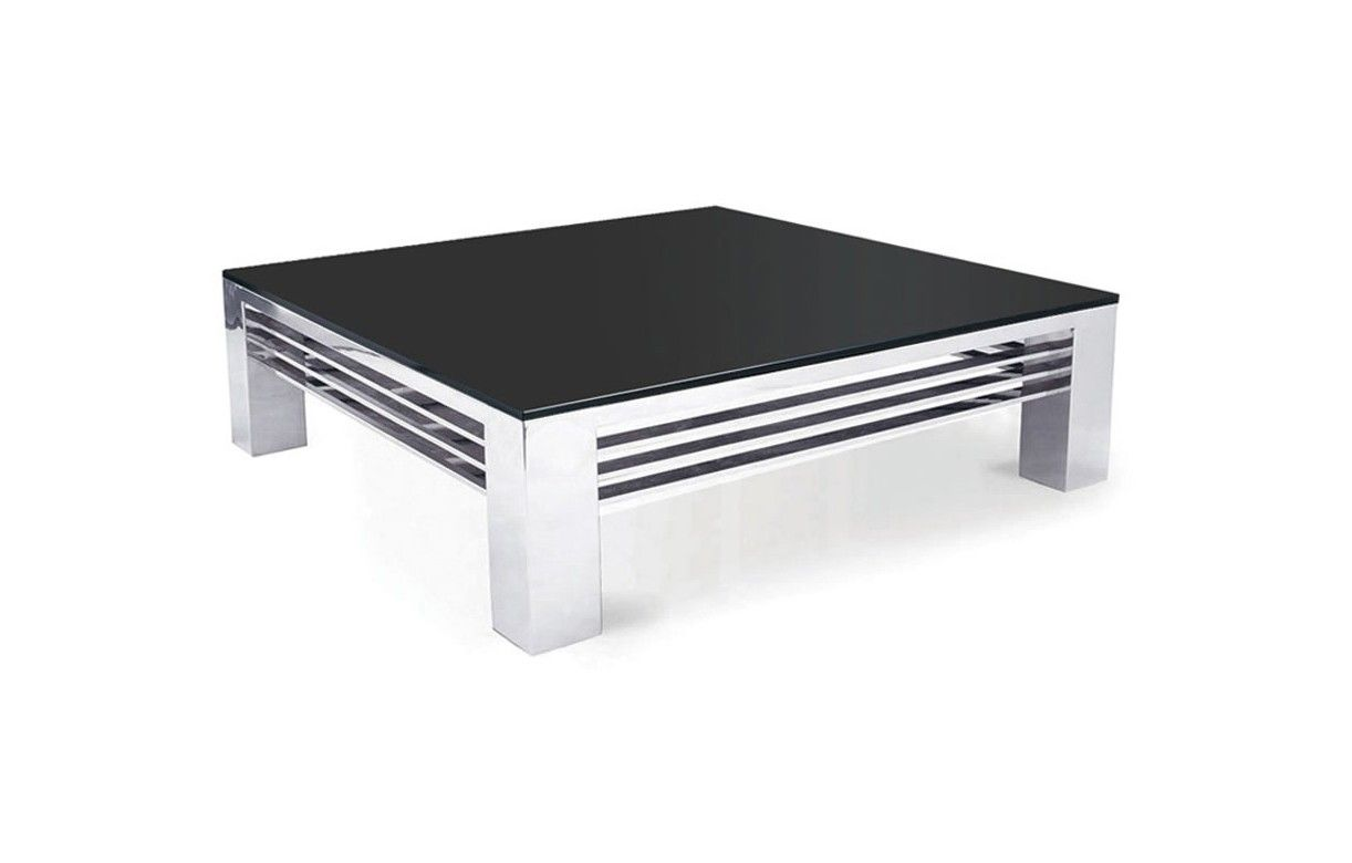 table basse haut de gamme verre noir et acier inox miroir. Black Bedroom Furniture Sets. Home Design Ideas