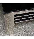 Table basse en verre noir et acier inox brillant Achille -