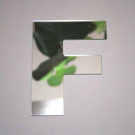 Miroir lettre Arial F adhésif -