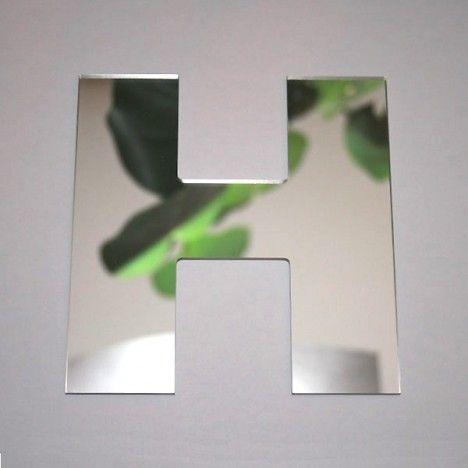 Miroir lettre Arial H adhésif -