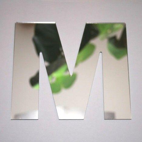 Miroir lettre Arial M adhésif -