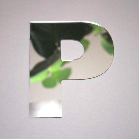 Miroir lettre Arial P adhésif -