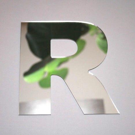 Miroir lettre Arial R adhésif -
