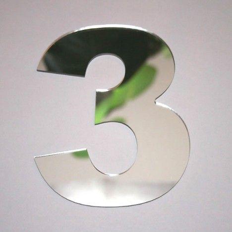 Miroir chiffre Arial 3 -