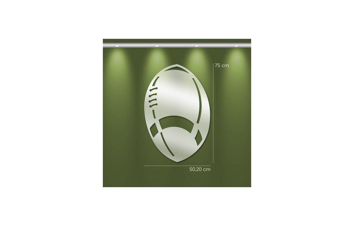 Miroir d coratif ballon de rugby 3 dimensions decome store for Miroir decoratif