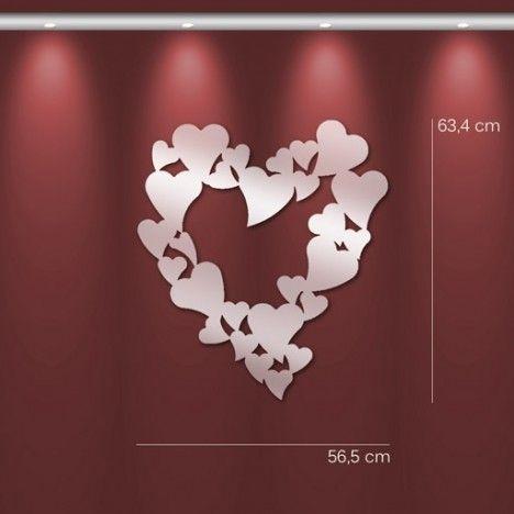 Miroir en forme de coeur design adhésif - 2 dimensions -