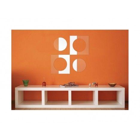Miroir design rond et carré imbriqué en double - 3 dimensions -