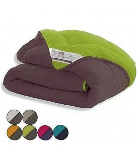 Couette bicolore réversible 240 x 220 cm 400 gr - 6 coloris -