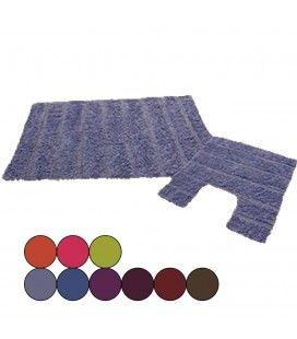 Ensemble tapis de salle de bain + contour wc - 9 coloris -