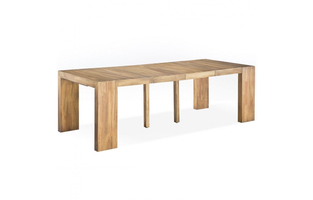 Table console extensible en bois massif 12 couverts for Table extensible design bois