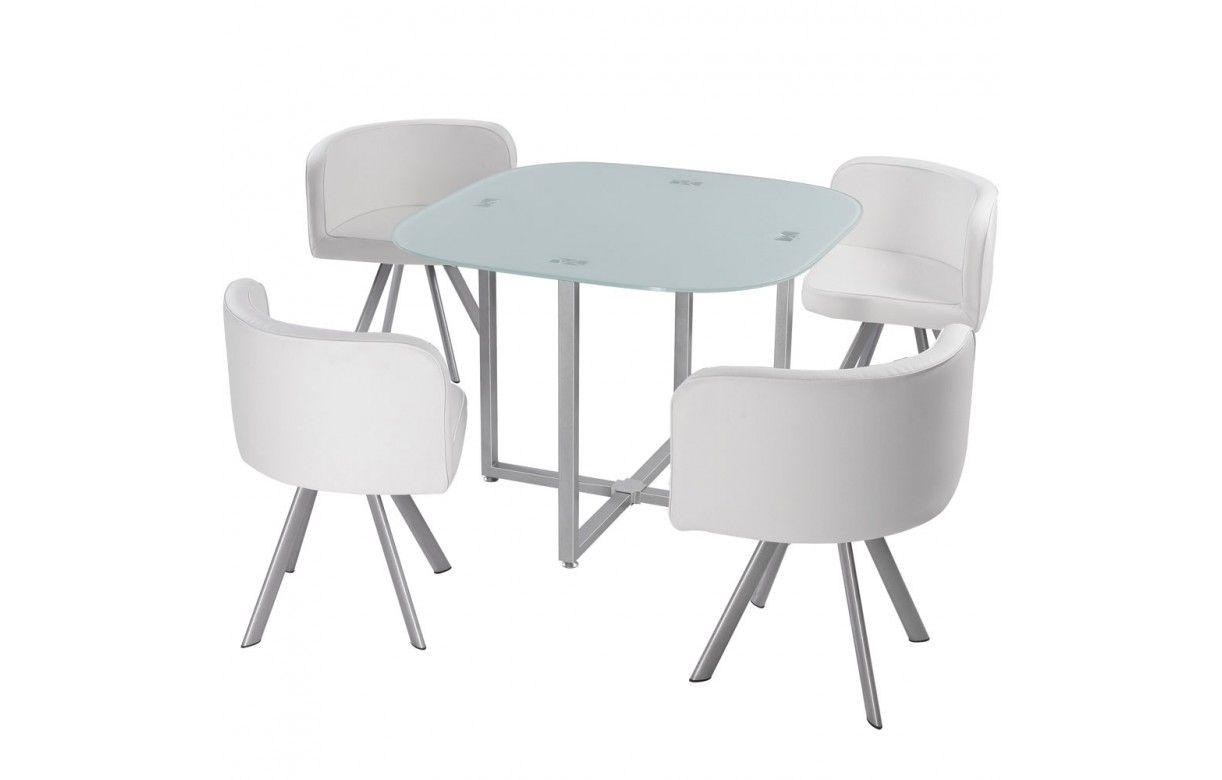 ... Table en verre et 4 chaises encastrables en cuir PU - 5 coloris ... fd2b57d6b870