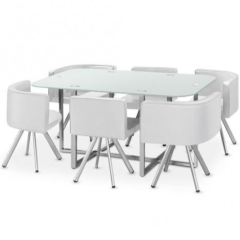 Ensemble Table Et 6 Chaises Encastrables En Simili Cuir 3