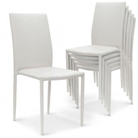 Lot de 6 chaises empilables en simili cuir Modani - 4 coloris -