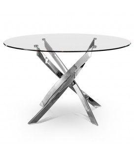 Table design en verre transparent ou noir avec pieds torsadés Croizy -