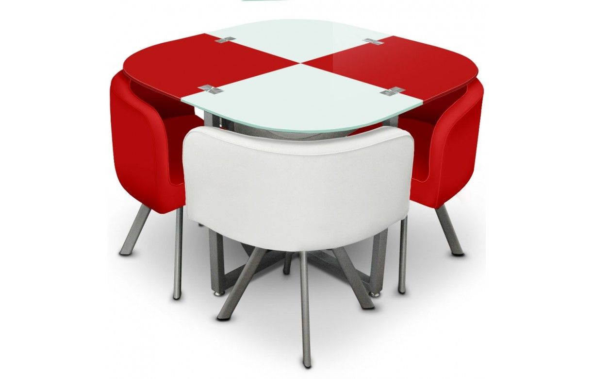 Table en verre et 4 chaises encastrables bicolore 5 for Table de salle a manger gain de place