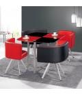 Table en verre et 4 chaises encastrables bicolore - 5 coloris -