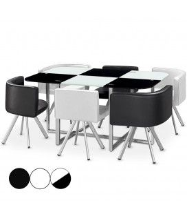 Ensemble table et 6 chaises encastrables en simili cuir - 3 coloris