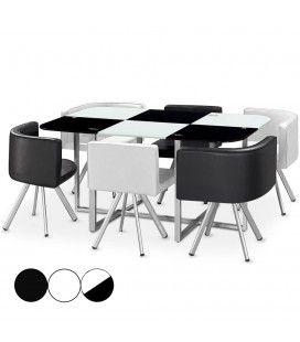 Ensemble table 6 chaises encastrables plateau en verre - 4 coloris