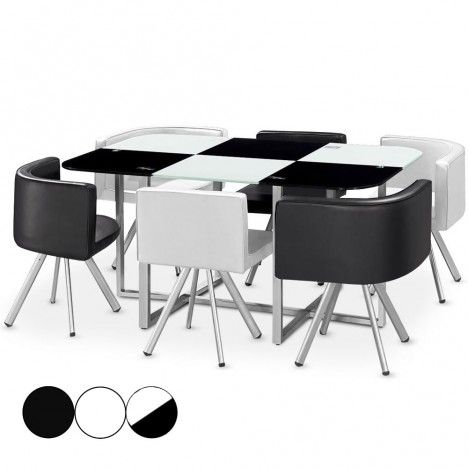 Ensemble table et 6 chaises encastrables en simili cuir - 3 coloris -