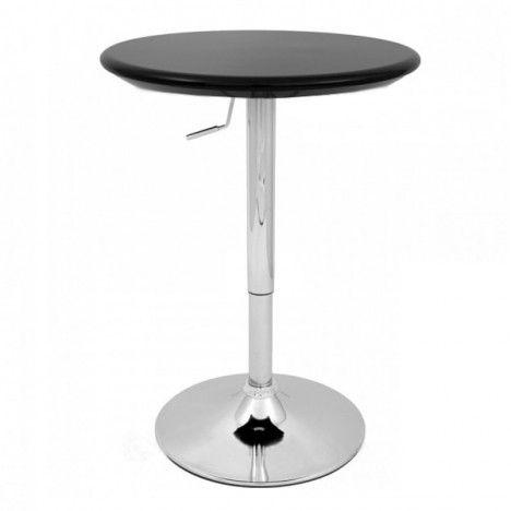 Table de bar réglable noire et chrome Europa -